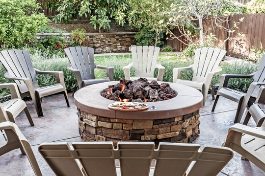 outdoor fire pit made of stone